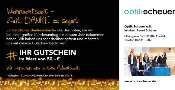 Weihnachtsaktion bei Optik Scheuer: 50€ Einkaufsgutschein